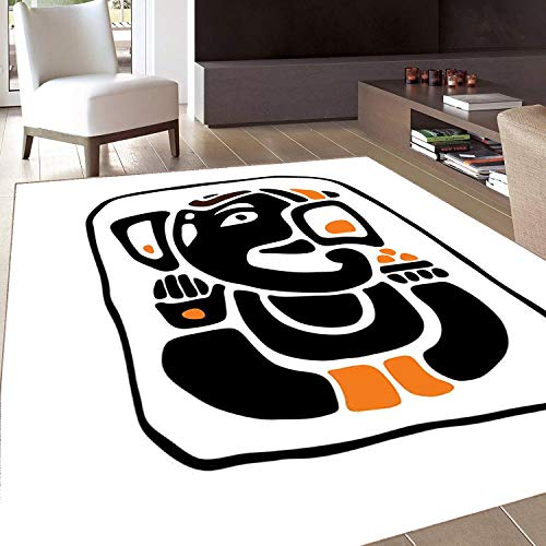 6760 Rubber (Rug,FloorMatRug,Ethnic,AreaRug,Meditating Figure in Lotus Pose Religious Figure from South Asian Folklore,Home mat,5'8