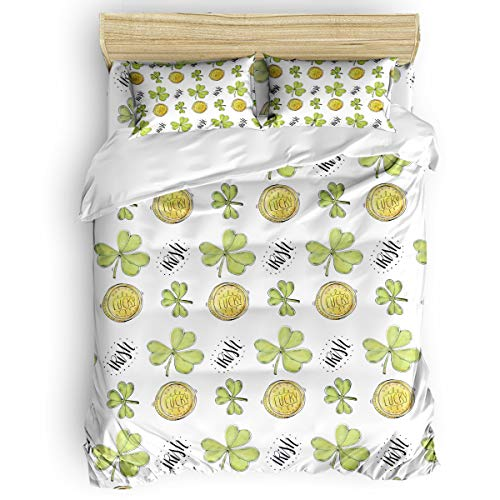 Romance House Watercolor Clover Leaf Duvet Cover Set Full Size, 3 Piece Golden Coin Hand Draw Bedding Set - 1 Quilt Cover with 2 Pillow Cases for Childrens/Kids/Teens/Adults