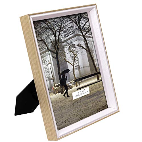 TERESA'S COLLECTIONS 8x10 Inch Picture Frame 5x7 with Mat or 8x10 Without Mat Two-Tone Wooden Wall Mounting Photo Frame for Tabletop Display and Home Decorations (Family - Tone Gold Mounting Two