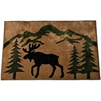 2x3 Brown Black Green Deer Wildlife Printed Runner Rug, Southwest Cabin Themed, Hunting Wild Nature Lodge Cottage, Indoor Animal Pattern Living Room Rectangle Carpet, Soft Acrylic