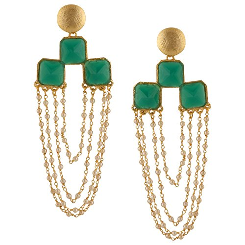Efulgenz Indian Bollywood 14K Gold Plated Crystal Faux Pearl Emerald Dangle Chandelier Earrings Jewelry Set