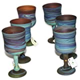 Brown with Blue set of Phoenician Goblets - Ancient beauty revealed. Set of 6 goblets. Museum quality looks and feels(6 Inch)
