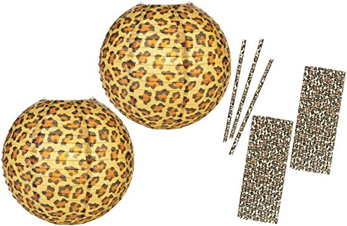 Outside the Box Papers 14 Inch Leopard Print Paper Lanterns and Paper Drinking Straws- 2 Pk of Lanterns 50 (Safari Paper Lanterns)