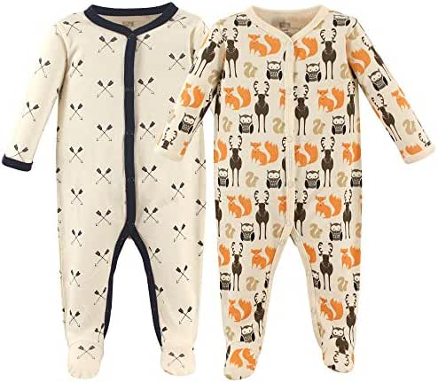 Hudson Baby Cotton Sleep n Play, Snap Closure, 2 Pack