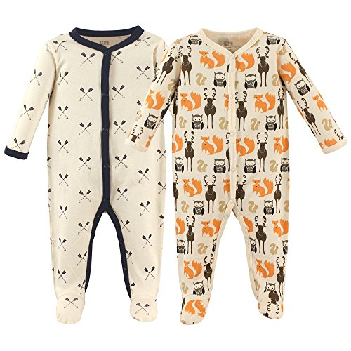Hudson Baby Baby Cotton Union Suit, 2 Pack, Woodland Creatures, 0-3 Months