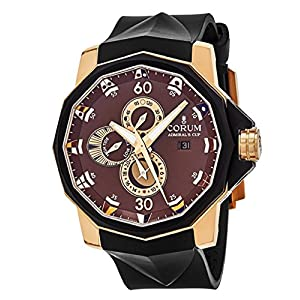 Corum Admiral's Cup Seafender 48 TIDES Mens Brown face Automatic Date Black Rubber Strap Swiss Watch 277.931.91/0371 AG32