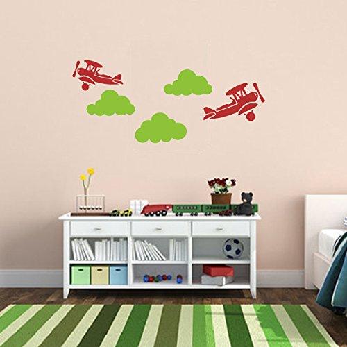 (MairGwall Airplane Wall Art Decor Nursery Wall Graphic Cloud Wall Decal Boy Room Wall Decoration Vinyl Airplane Wallpaper Sticker Art C(Medium,Airplane:Tomato R)