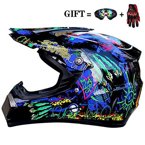 FLBETYY S-XL Kids Youth DOT Motorcycle Motocross Motorbike Racing Offroad Street ATV Dirt Bike Sport Helmet+Goggles+Gloves ()