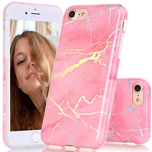 BAISRKE Pink Marble Case with Gorgeous Holographic Pattern Laser Style Design Slim Black Bumper TPU Soft Rubber Silicone Cover Phone Case for iPhone 7 (2016) / iPhone 8 (2017) [4.7 inch]