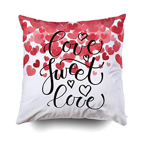 GROOTEY Decorative Cotton Square Pillow Case Covers with Zippered Closing for Home Sofa Decor Size 20X20 Inch Costom Pillowcse Throw Cover Cushion Halloween Sketched Sweet Love Text Hearts -