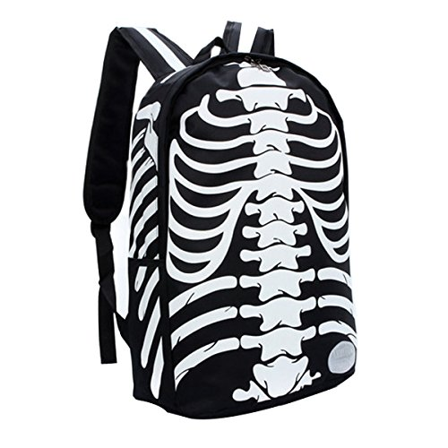 [Hanshu Nylon Human Skeleton Printed Backpack Bags, Lightweight Travel Daypacks, Black] (Mossimo Black Belt)