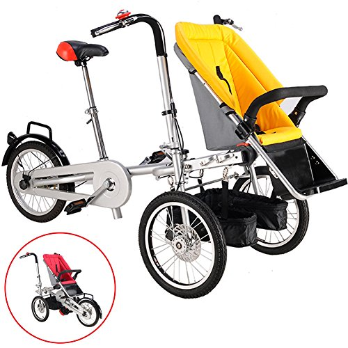 OLizee 3 Wheels Mother Folding Baby Child Bicycle Bike Stroller Pushchair Carrier with Suncover (Yellow)