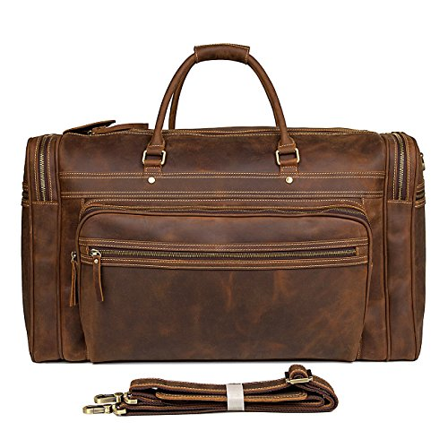 BAIGIO Large Leather Weekend Travel Duffle Bag 23'' Carry On Luggage Duffel (Brown) by BAIGIO