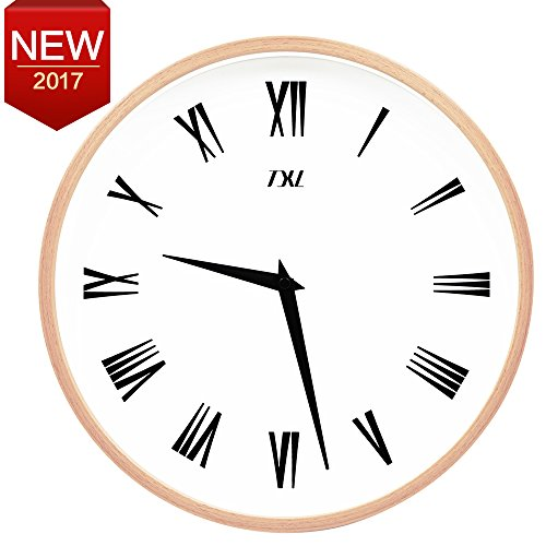 Large Wall Clock Wood Wall Clock 12' Silent Non-ticking Indoor Quartz Wall Clock Home Office Classroom Clock