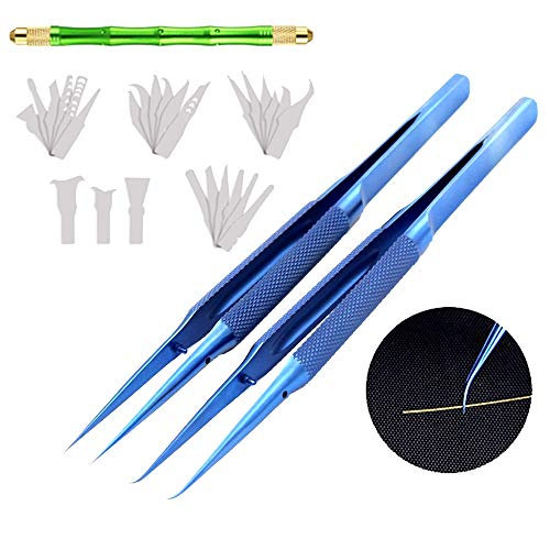 Precision Tweezers Set-Titanium Alloy Pointed Tweezers and Curved Tweezers Fly Line Fingerprint Forceps Clips Tweezers Microscope use with Motherboard CPU NAND IC Glue Remover Disassemble Blade kit