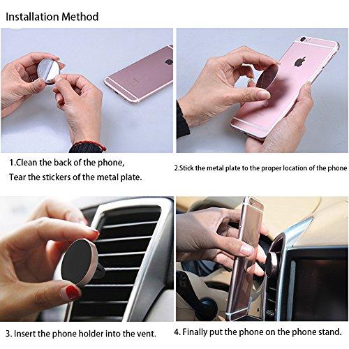 NewMum Soporte Movil Coche Air Magnético Universal Soporte de Smartphone, Soporte Magnético de Movíl para Rejillas del Aire de Coche