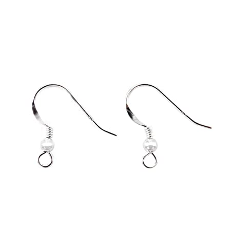 HooAMI 20(10 Pairs) 925 Sterling Silver Ear Wire Hooks With Spring&Ball 16x11mm RttzJ