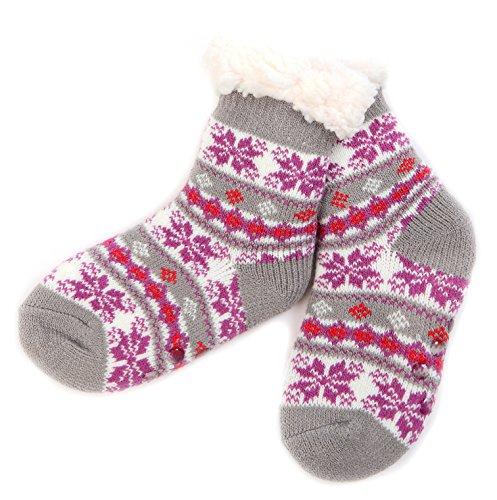 Unisex Warm Soft Christmas Fleece Fuzzy Kids Winter Slipper Socks For Girls Boys (For 5-9Y Kid, ()
