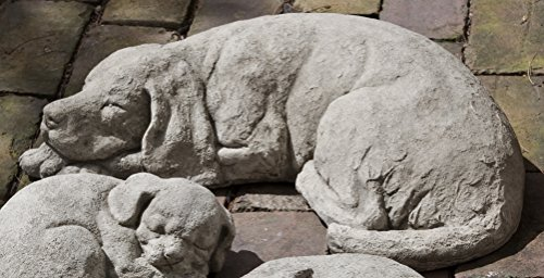 Campania International A-254-GS Reclining Dog Statue, Grey Stone Finish (Campania Cast Stone Statue)