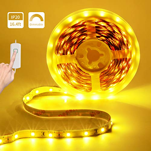 (LED Strip Lights Dimmable LED Rope Lights 12V Amber LED Tape Light 16.4ft Under Counter Lighting Non-Waterproof UL Power 2835 LED Closet Lights for Under Cabinet Bedroom Bar Party Decor (2000-2200K))