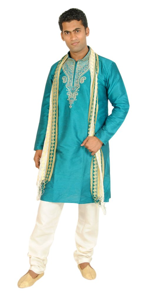 Apparelsonline Teal Men Kurta Set Sherwani Indian Wedding Wear (XXXXLarge)