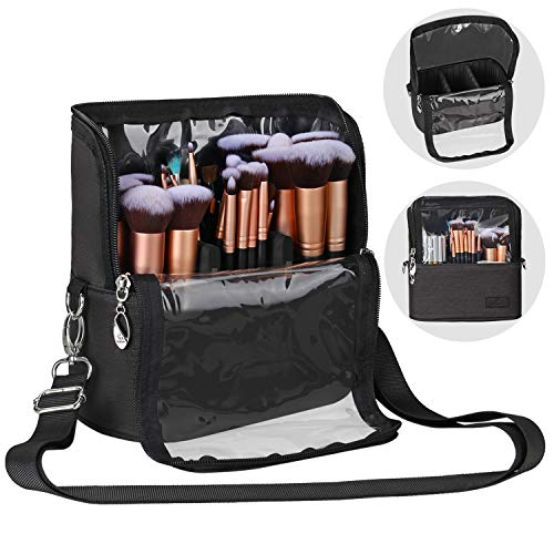 MONSTINA Portable Makeup Brush Holder Organizer Bag,Large Capacity Cosmetic Brush Bag Case for Professional Makeup Artist,with Adjustable Strap and Compartment for Makeup Tool Eyebrow Pencil Travel