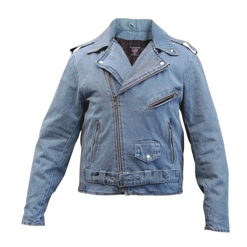 Men's AL2953 Basic Motorcycle Jacket 14 oz. XX-Large Blue Denim