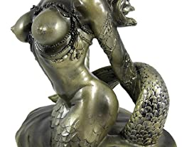 7.75 Inch Half Mermaid Bust and Breast Resin Statue Figurine