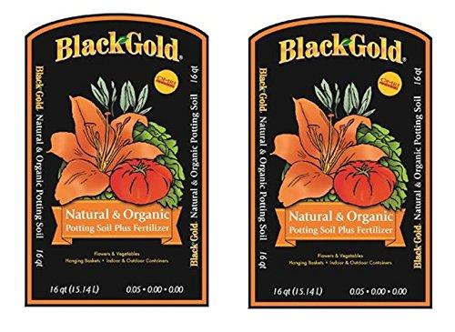Black Gold 1302040 16-Quart All Organic Potting Soil WhehJaF, 16 quart bag, 2 bags ()