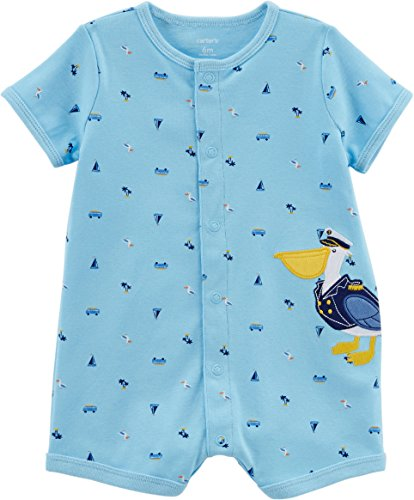 Carters Rompers Boys (Carter's Baby Boys' Pelican Snap-up Cotton Romper 3 Months)