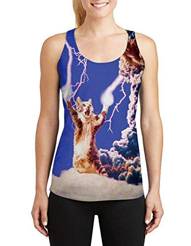 Leapparel El diseño fresco 3d de las mujeres imprimió las tapas sin mangas del tanque del racerback Chaleco camisetas Lightning Cat
