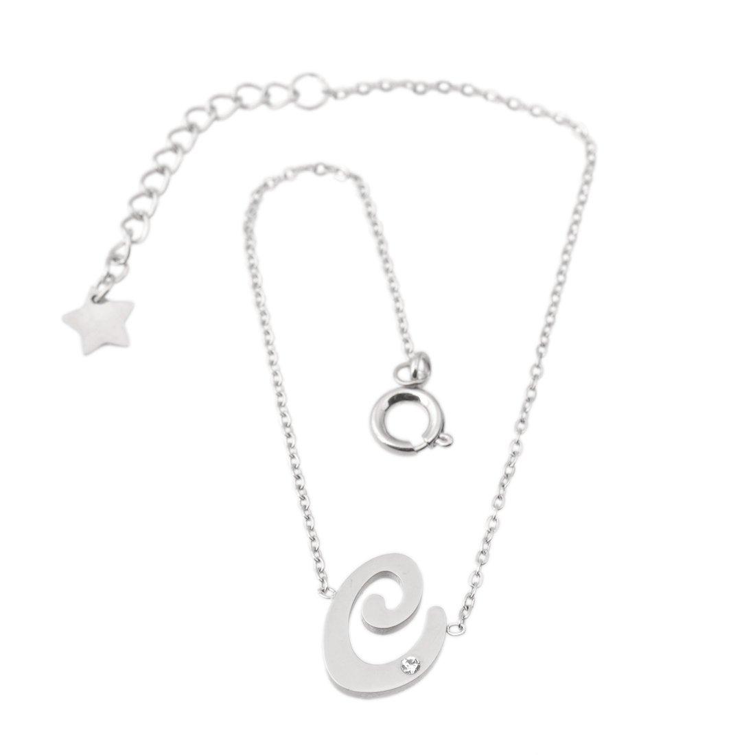 JOINONE Script Letter Rhinestone Charm Bracelet A to Z Friendship Gifts Jewelrys for Womens Girls