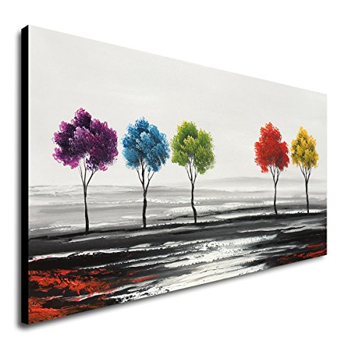 Handmade Abstract Oil Painting Canvas - Handmade Colorful Tree Oil Painting on Canvas Modern Abstract Large Landscape Wall Art for Living Room