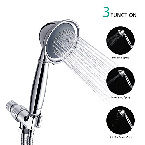 CLOFY Anti-clog Shower Head, Handheld Shower with Hose and Holder, High Pressure 3 Setting Spray Function Hand Shower Head