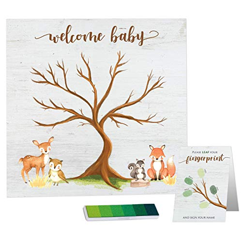 """Paper Kit Co. Woodland Creature Baby Shower Fingerprint Tree with Ink Pad - Framable Watercolor Woodland Art Print 