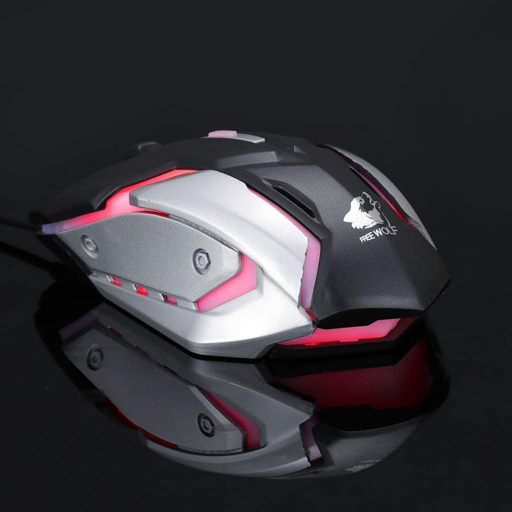 3200 DPI and 4 Programmable Buttons Comfortable Full-Size Mouse 4-Color Breathing Light ka Plug and Play Gaming Mouse DPI 4-Speed Adjustment