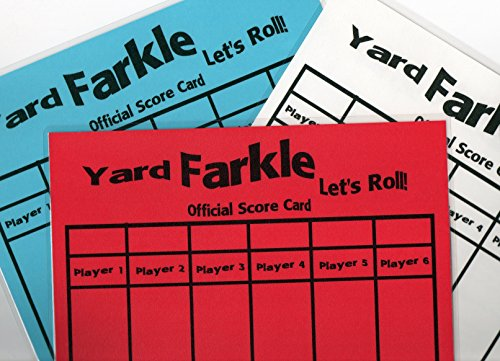 Yard Farkle Score Card 3 PACK Bright Colors ( 1 Red, 1 Wh...