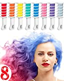 Hair Chalk Comb Temporary Hair Dye Hair Color Brush Glitter Paint for Adults Kids & Children - Boys & Girls Perfect Gift Idea Set of 8 pcs