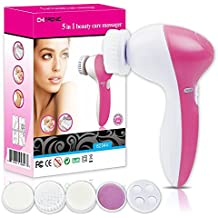 ChiTronic 82344 5 in 1 Multi-Function Portable Facial Skin Care Electric Massager/Scrubber with Facial Latex Brush Cosmetic Sponge