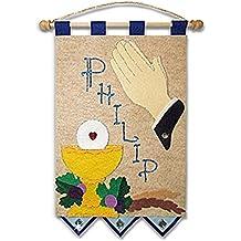 First Communion Banner Kit - 9 x 12 - Praying Hands - Blue