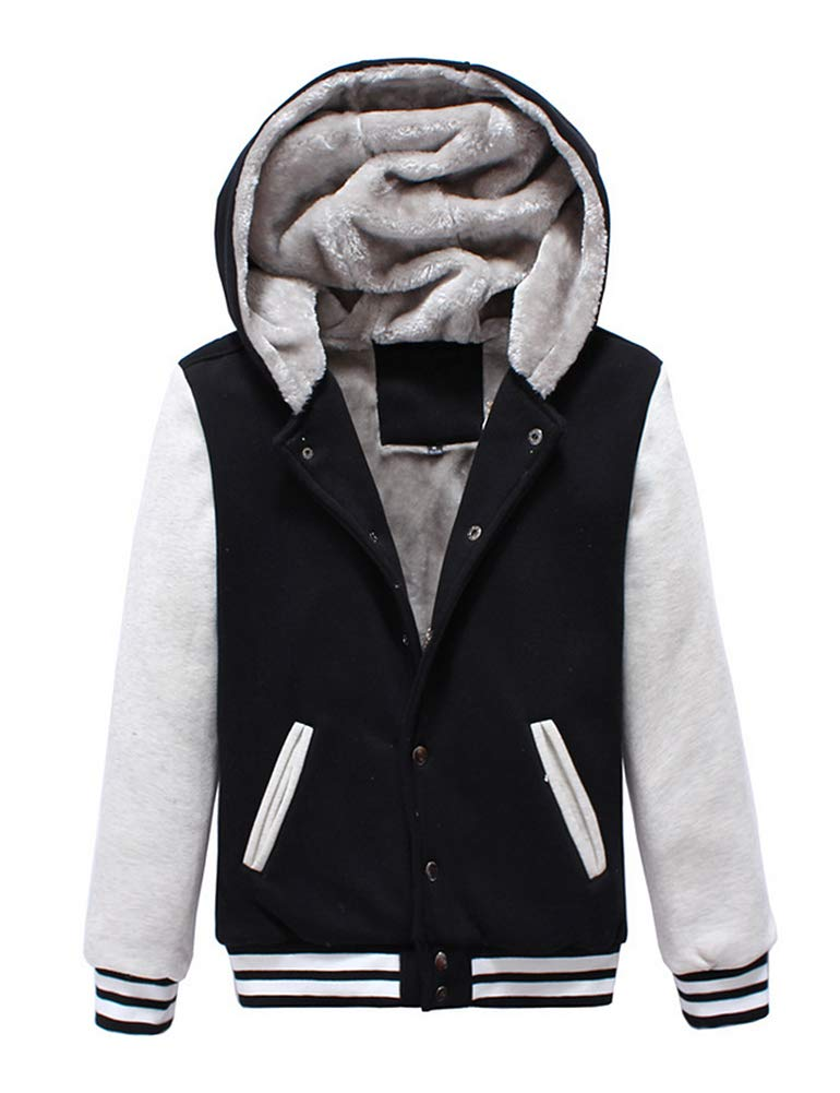 IDEALSANXUN Womens Button Front Suit Collar Thick Velvet Warm Winter Jacket Coats Hoodies (Black, Small)