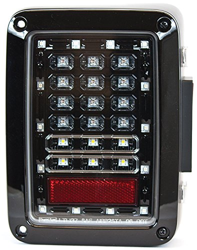 IPCW LEDT-420EBA Wrangler LED Taillight with Black Housing (Clear Lens,with Amber Turn Signal,with LED Reverse light) ()