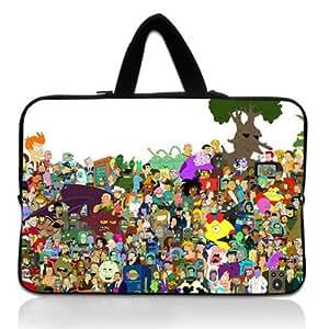 Brinchs Handmadecraft Cute Cartoon 17 17.3 Inch Laptop Handbag with Futurama(2) Waterproof Canvas Fabric Laptop / Notebook / MacBook / Ultrabook Computers(Twin Sides)