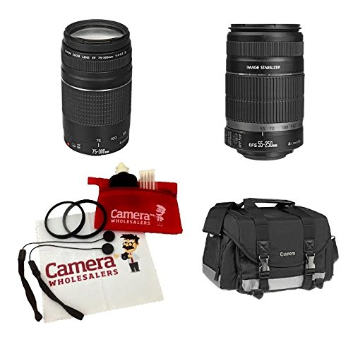 Canon EOS & Rebel lenses kit EF-S 55-250mm f/4-5.6 IS II & EF 75-300mm f/4-5.6 III Telephoto & SLR Gadget Bag, 2 UV Filter, 2 Lens Cap holder, CW Microfiber Cleaning Cloth by Canon