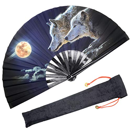 OMyTea Large Rave Folding Hand Fan for Men/Women - Chinese/Japanese Kung Fu Tai Chi Handheld Fan with Fabric Case - for Performance/Wall Decorations/Dancing/Festival/Gift (Full Wolf Moon) - Oriental Fabric Case