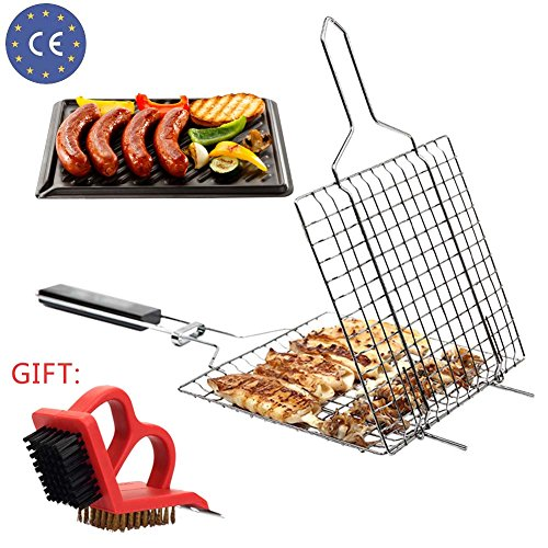 Grilling Basket Barbecue Grid Folding with Wood Handle and BBQ Cleaning Brush Great and Useful BBQ Tool (Non Stick Burger Basket)