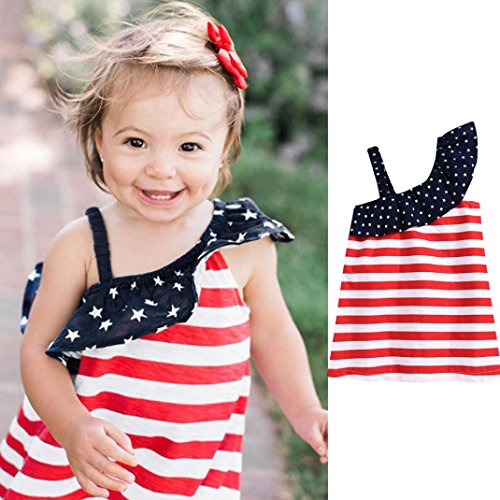 Franterd Baby Strap Dress - 4th Of July Star Dress - Family Matching Clothes - Child Kid Girls Summer Beach Outdoor Party Sundress (Red, 3T) -