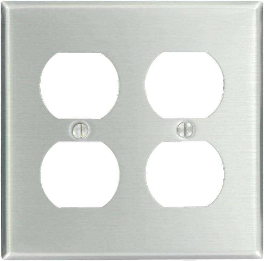 Leviton 83016 2-Gang Duplex Device Receptacle Wallplate, Standard Size, Device Mount, Aluminum