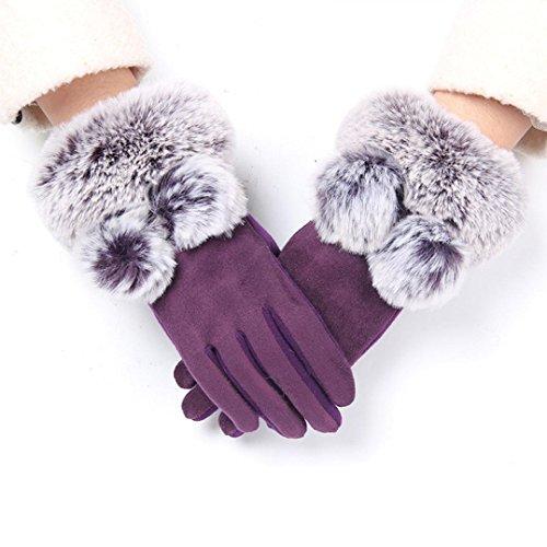 (Gloves for Women,Sunfei 1Pair Winter Warm Screen Riding Drove Gloves for Women (Purple))
