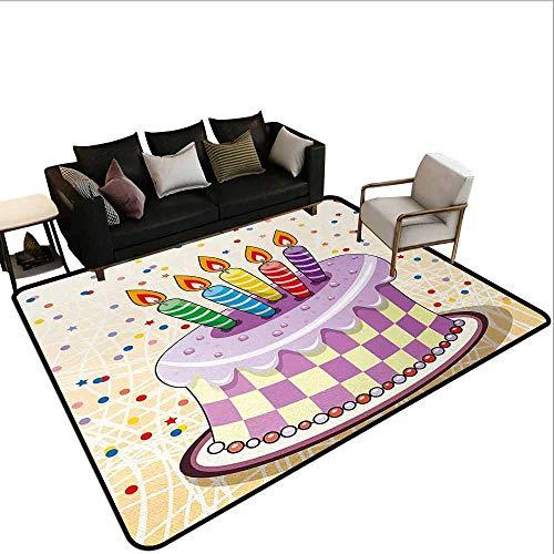 (Carpet Birthday,Creamy Cake Illustration with Candles Retro Style Polka Dots Stars Striped Design,Multicolor)